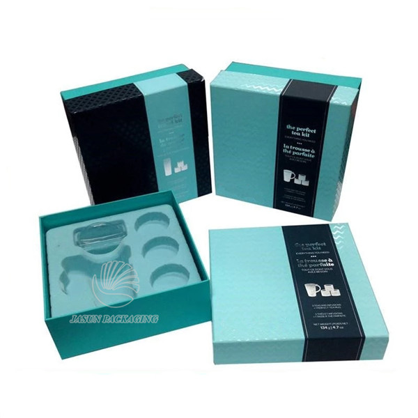 spot UV varnishing 2 pieces tea set packaging boxes title=